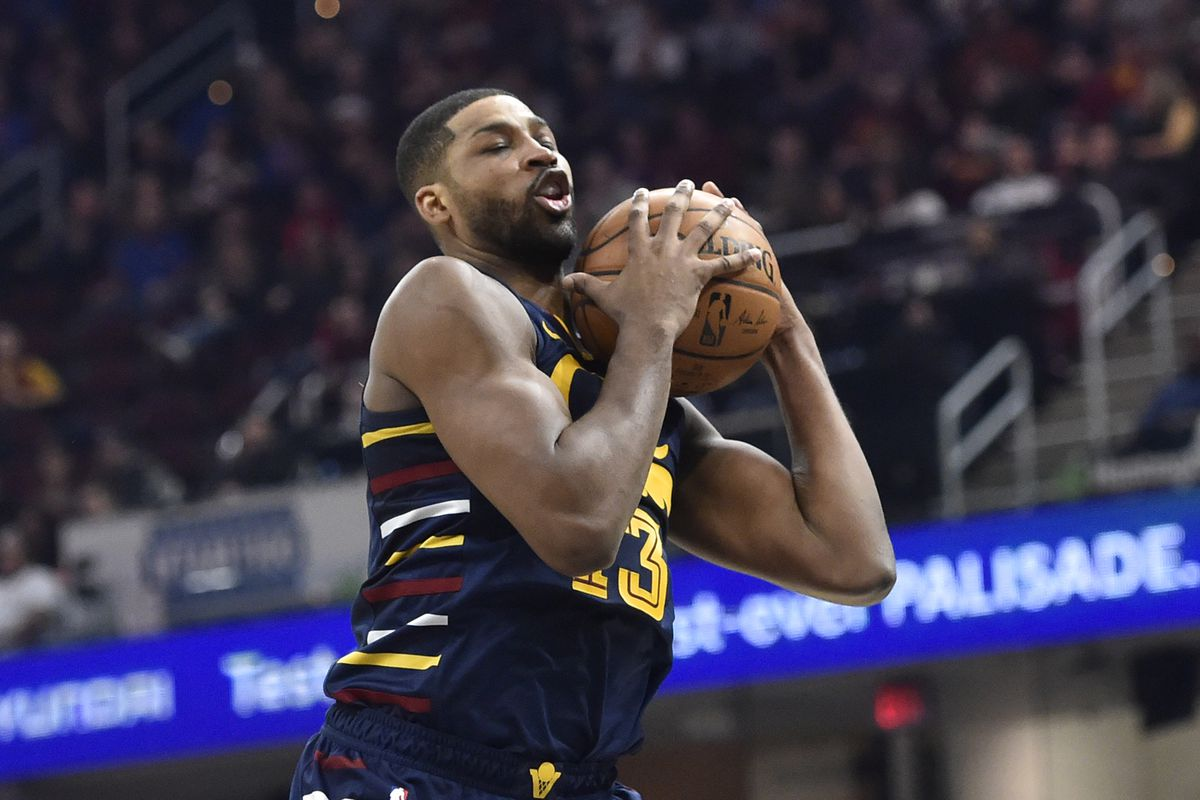 Cleveland Cavaliers center Tristan Thompson rebounds in the second quarter against the Oklahoma City Thunder at Rocket Mortgage FieldHouse.