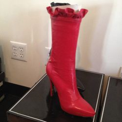 Red Leather Boots, $328