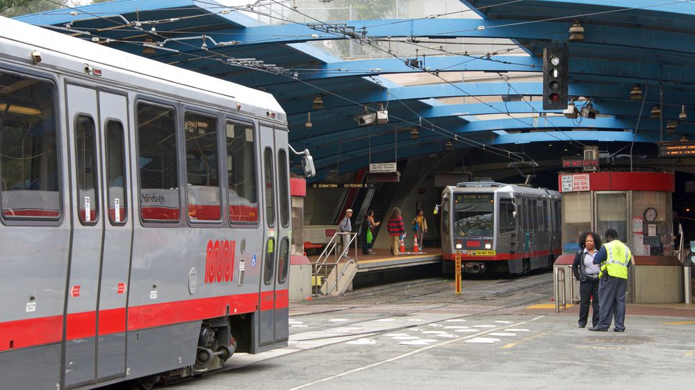Trains entering the Twin Peaks tunnel.