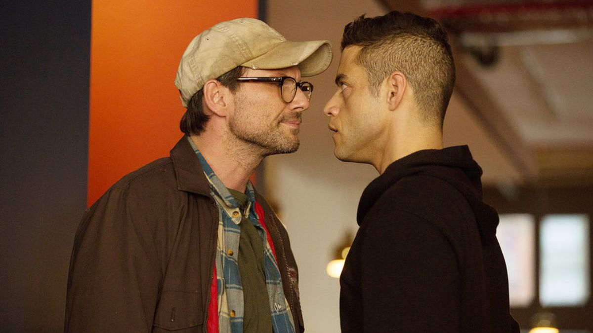 One of the season's major reveals involved Mr. Robot (Christian Slater, left), but the series' creator wanted his audience to be ahead of his main character.