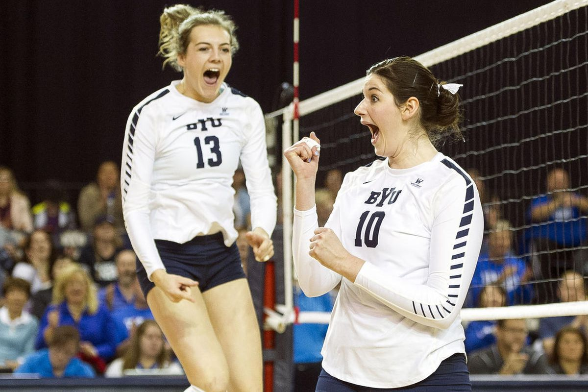 BYU middle hitter Amy Boswell, right, celebrates with outside hitter Danelle Parady-Stetler during an NCAA volleyball playoff game against UNLV in Provo on Saturday, Dec. 3, 2016. BYU swept UNLV 3-0 to advance onto the Sweet 16.
