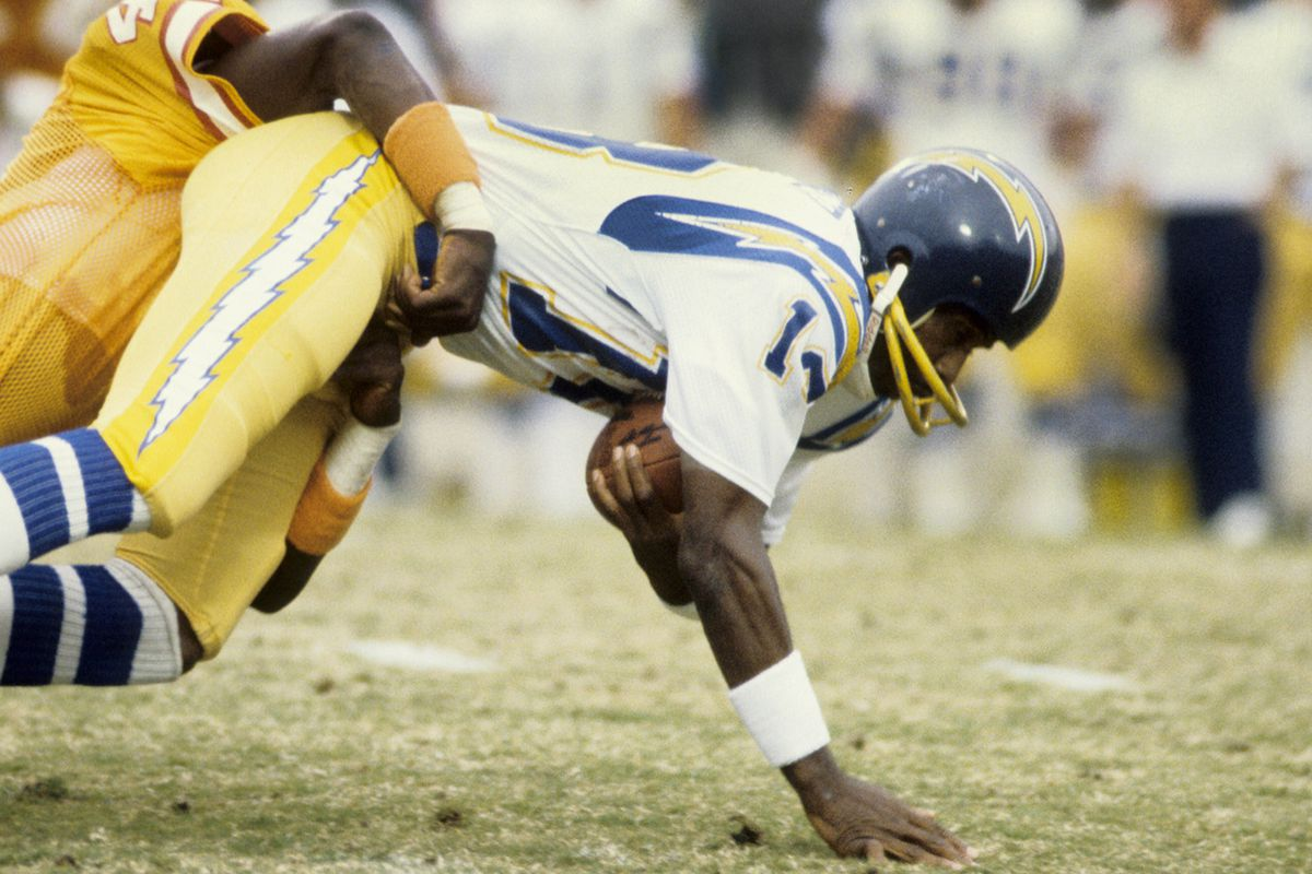 Dec 13, 1981; Tampa, FL, USA; FILE PHOTO; San Diego Chargers receiver Charlie Joiner (18) in action against the Tampa Bay Buccaneers at Tampa Stadium.