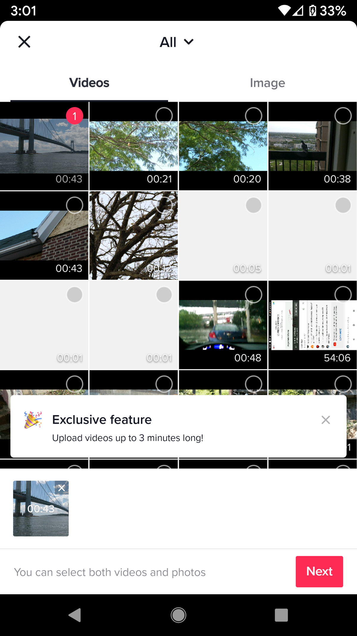 A thumbnail of the video or photo of your choice will appear at the bottom.