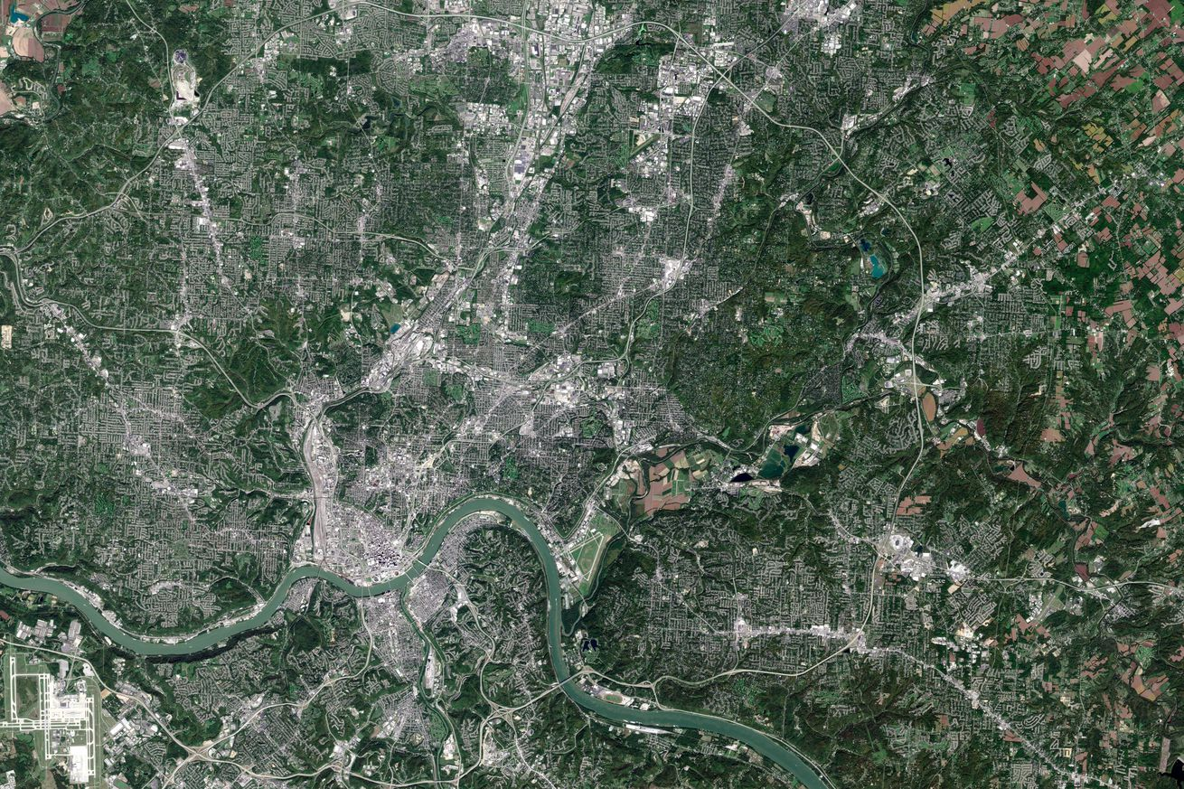 CINCINNATI, OH, OCTOBER 7, 2016: This is an enhanced Sentinel Satellite Image of Cincinnati, Ohio.
