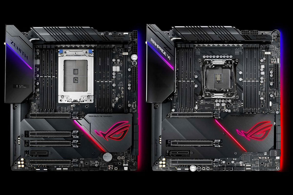 Asus ROG Zenith Extreme Alpha for AMD processors (left) and Asus ROG Rampage VI Extreme Omega for Intel systems.