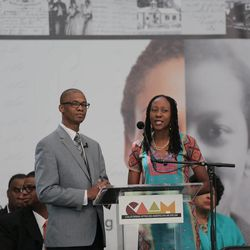"""President Jermaine Sullivan and his wife, Kembe, who were featured in the movie """"Meet the Mormons,"""" conducted the press conference Friday, June 19. 2015, in Los Angeles to announce the Freedmen's Bureau Project. President Sullivan is a stake president responsible for nine LDS congregations in the Atlanta, Georgia, area."""