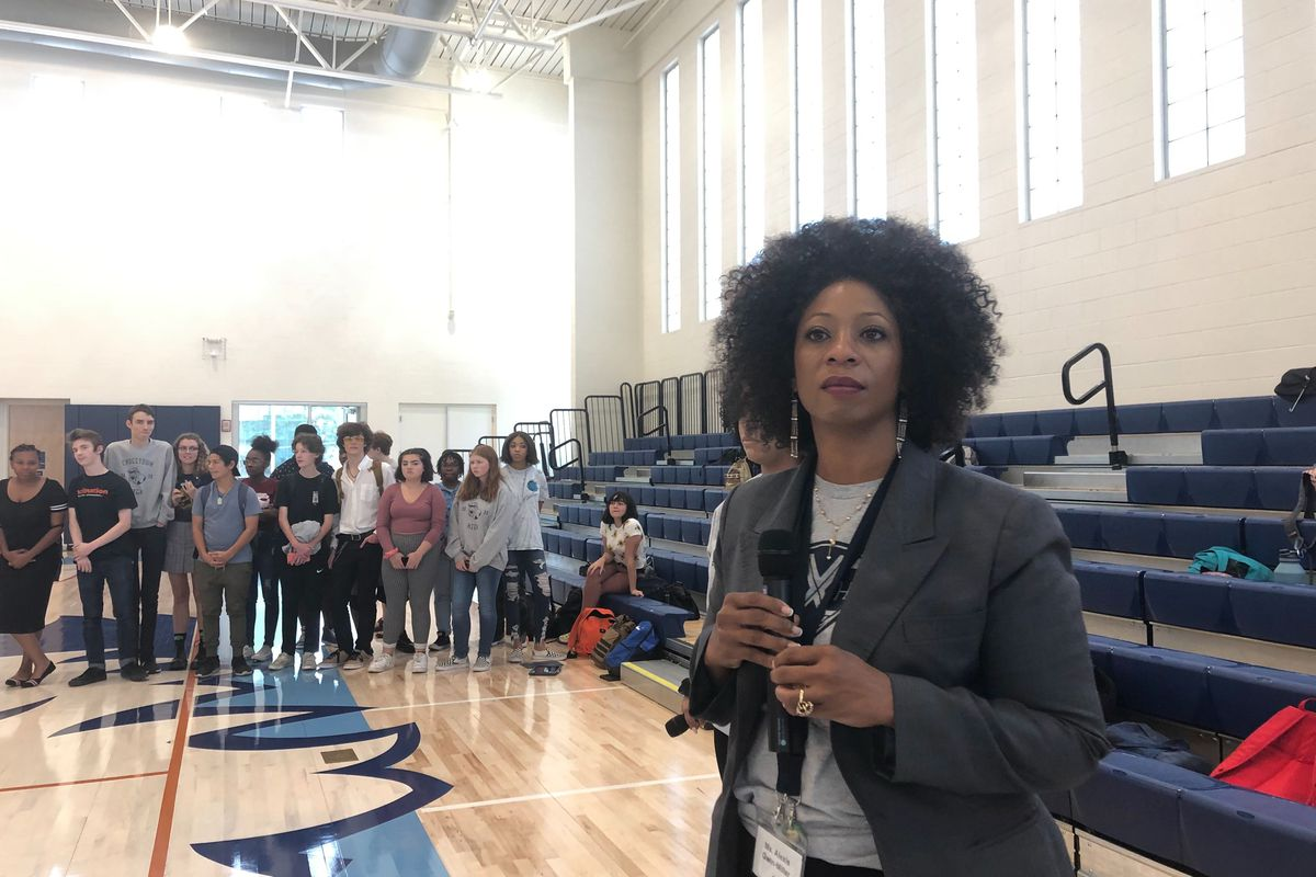 Principal Alexis Gwin-Miller addresses students during a town hall meeting following a student protest on Sept. 20.