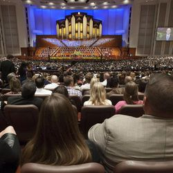 Members of The Church of Jesus Christ of Latter-day Saints gather for general conference in October at at the Conference Center in Salt Lake City.