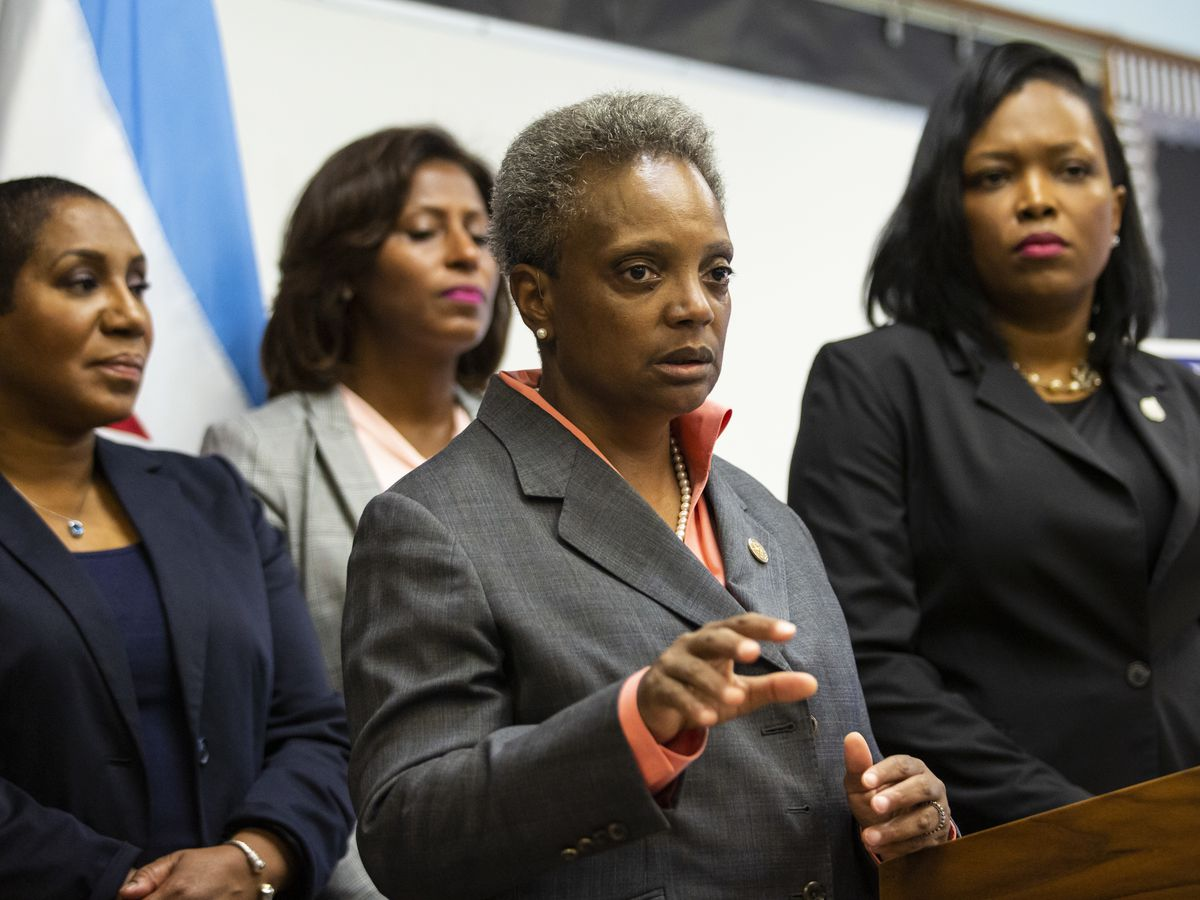 Mayor Lori Lightfoot discussed contract negotiations with the Chicago Teachers Union during a press conference at Daniel Webster Elementary School.