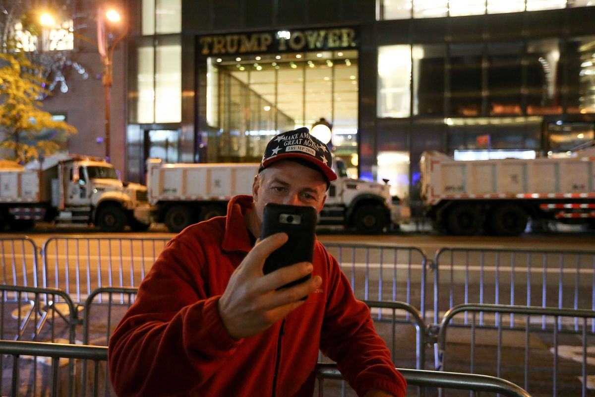 Crowds Gather In New York To Watch Election Results From Across The Country