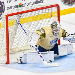 Syracuse Crunch goalie Spencer Martin (30) makes a stick save against the Belleville Senators in American Hockey League (AHL) action at the War Memorial Arena in Syracuse, New York on Friday, November 8, 2019. Syracuse won 4-3 in OT.