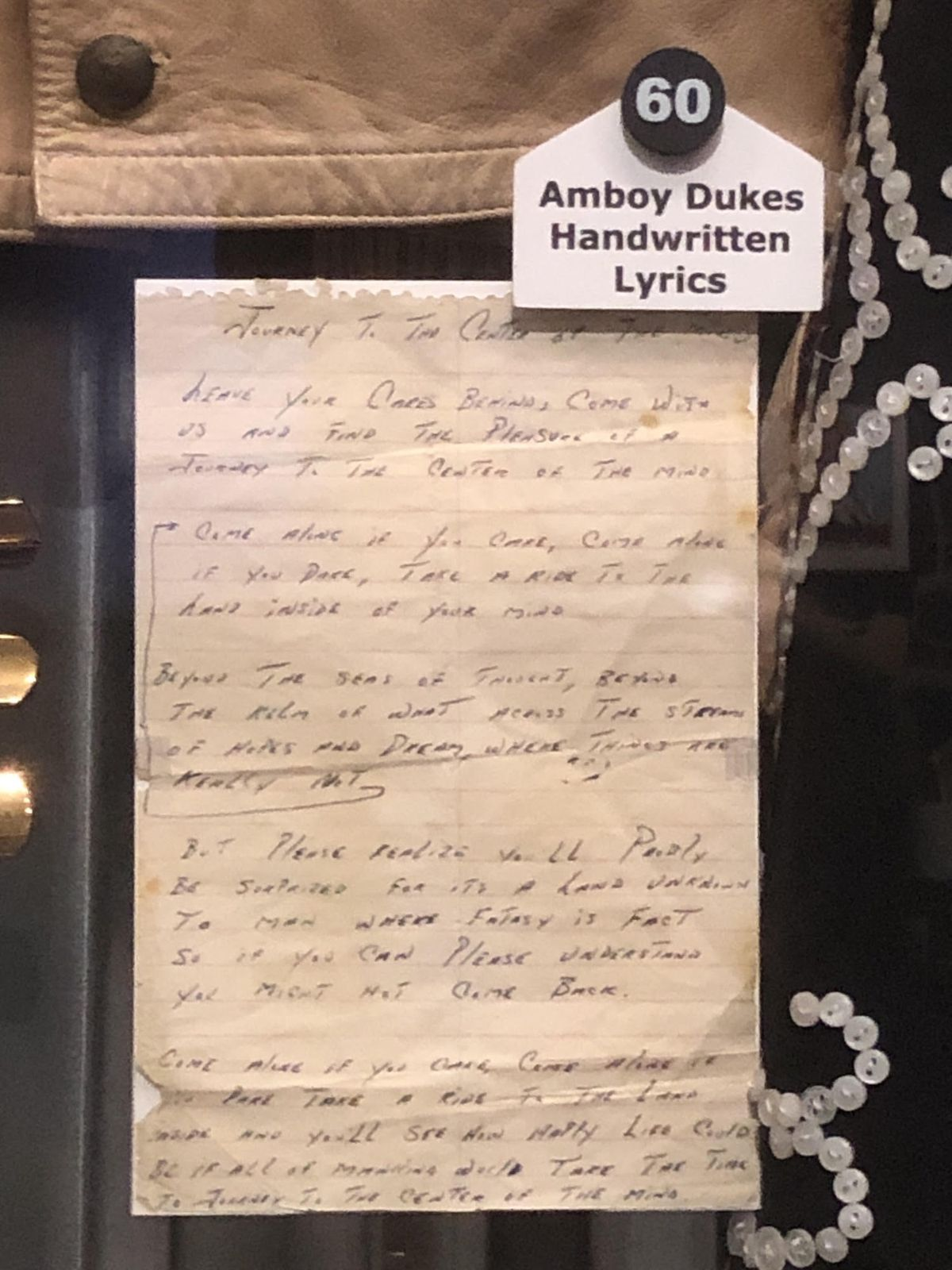 """John Drake sent handwritten lyrics for the Amboy Dukes' """"Journey to the Center of the Mind"""" to the Rock & Roll Hall of Fame in Cleveland."""