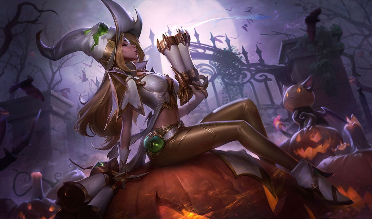 The Prestige version of Miss Fortune poses on top of a pumpkin, blowing off the top of her gun.