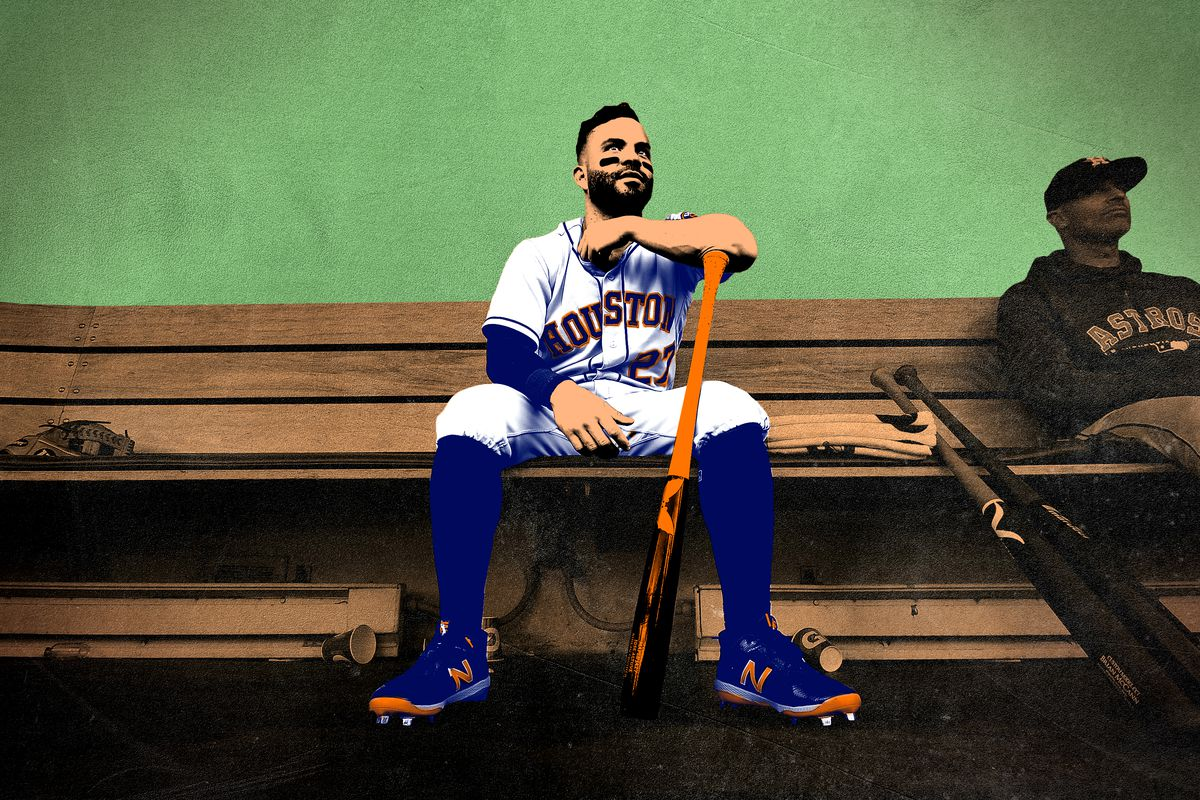 José Altuve sitting on the dugout bench