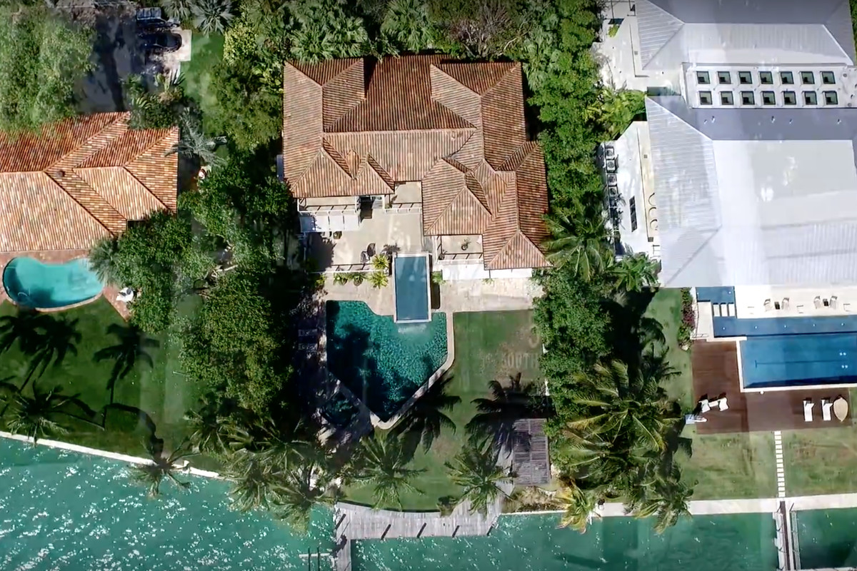 Aerial of a waterfront home in Key Biscayne