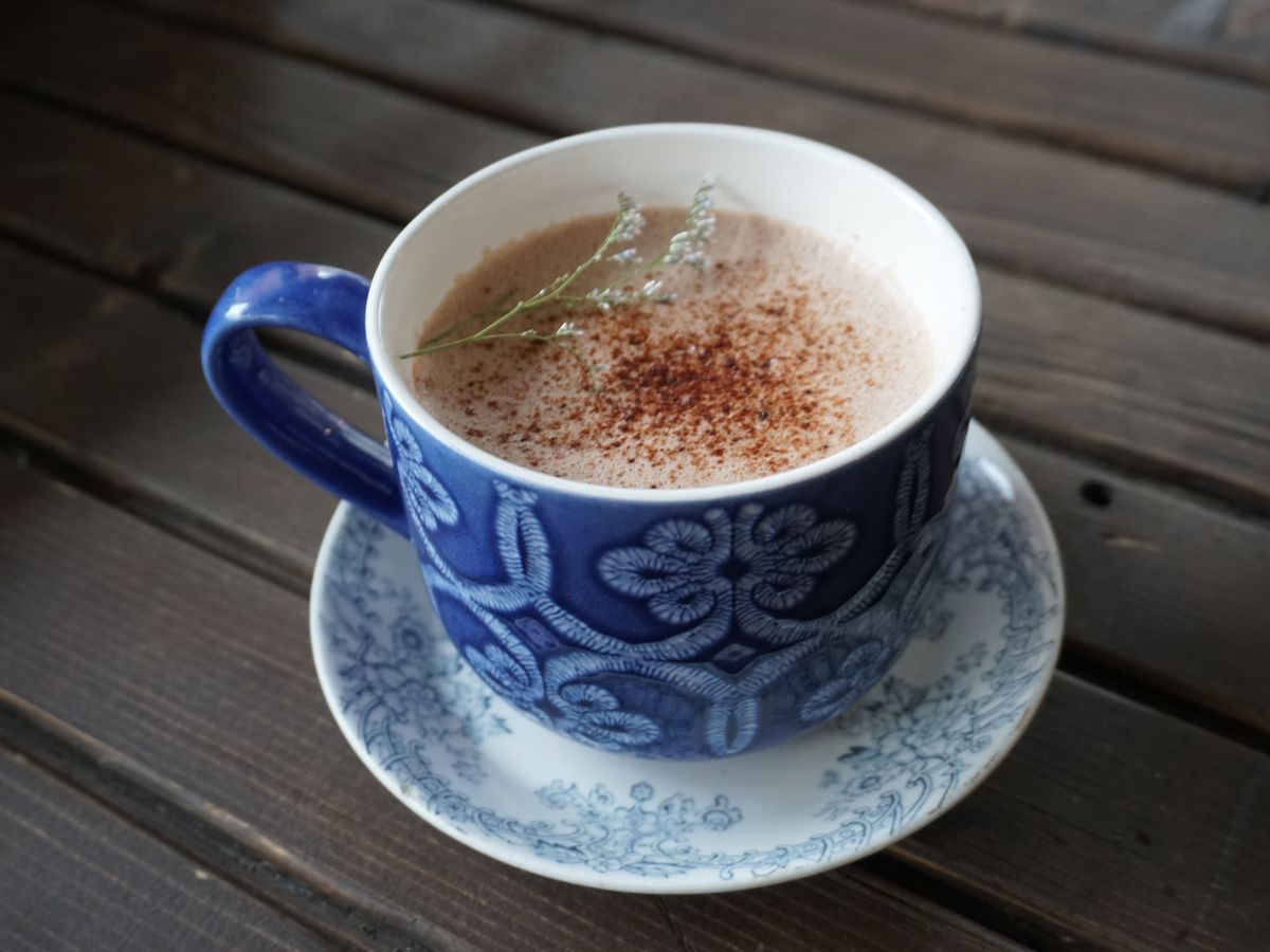 A version of hot chocolate with lavender at Maman