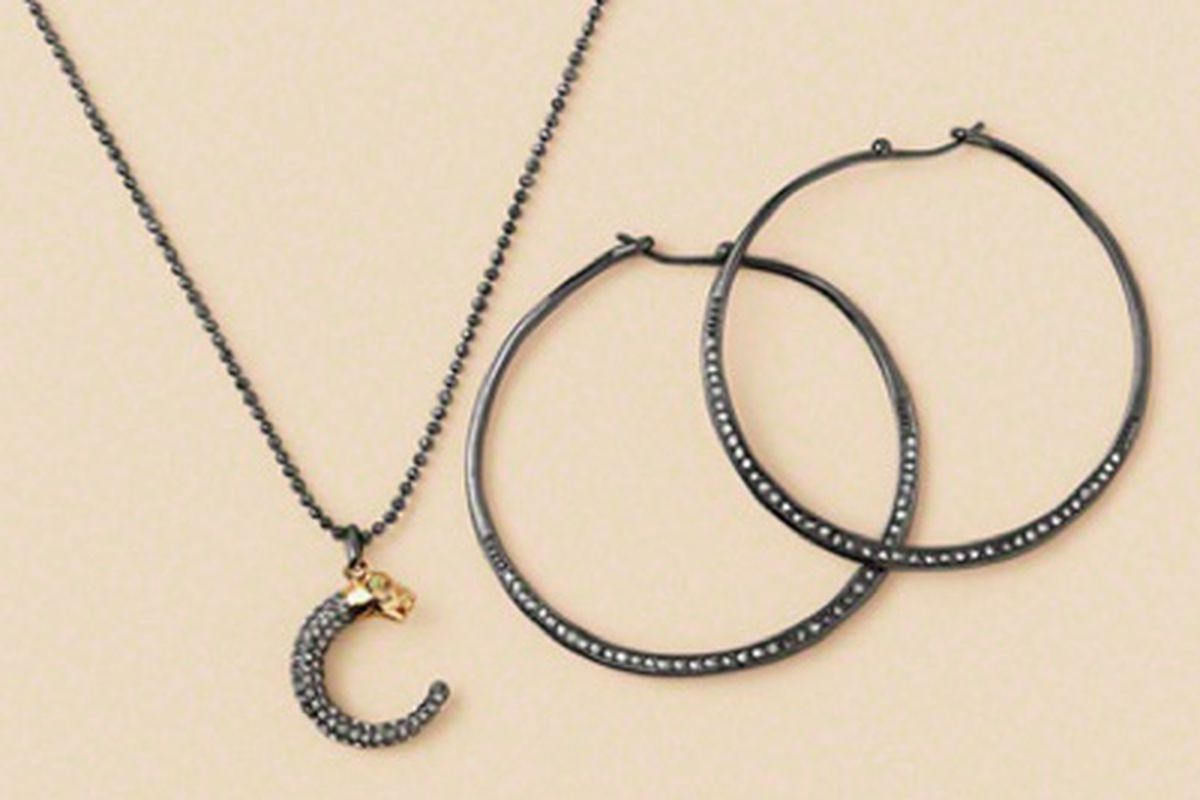 """Panther Pendant Necklace, $49 and Heiress Hoop Earrings in Hematite, $44. Like them? The pair could be yours for free, via <a href=""""http://www.luckymag.com/sweeps/0912_stella_dot/entry/long?unlock=true"""">Lucky</a>"""