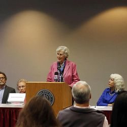 Dixie Huefner, former communications director, Utahns for Ethical Government, speaks as the Utah Citizens' Counsel announces its 2014 Assessment of Utah's Policy Progress in Salt Lake City, Wednesday, Dec. 10, 2014.