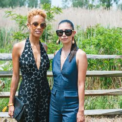 Design duo Carly Cushnie and Michelle Ochs twinned with plunging jumpsuits.