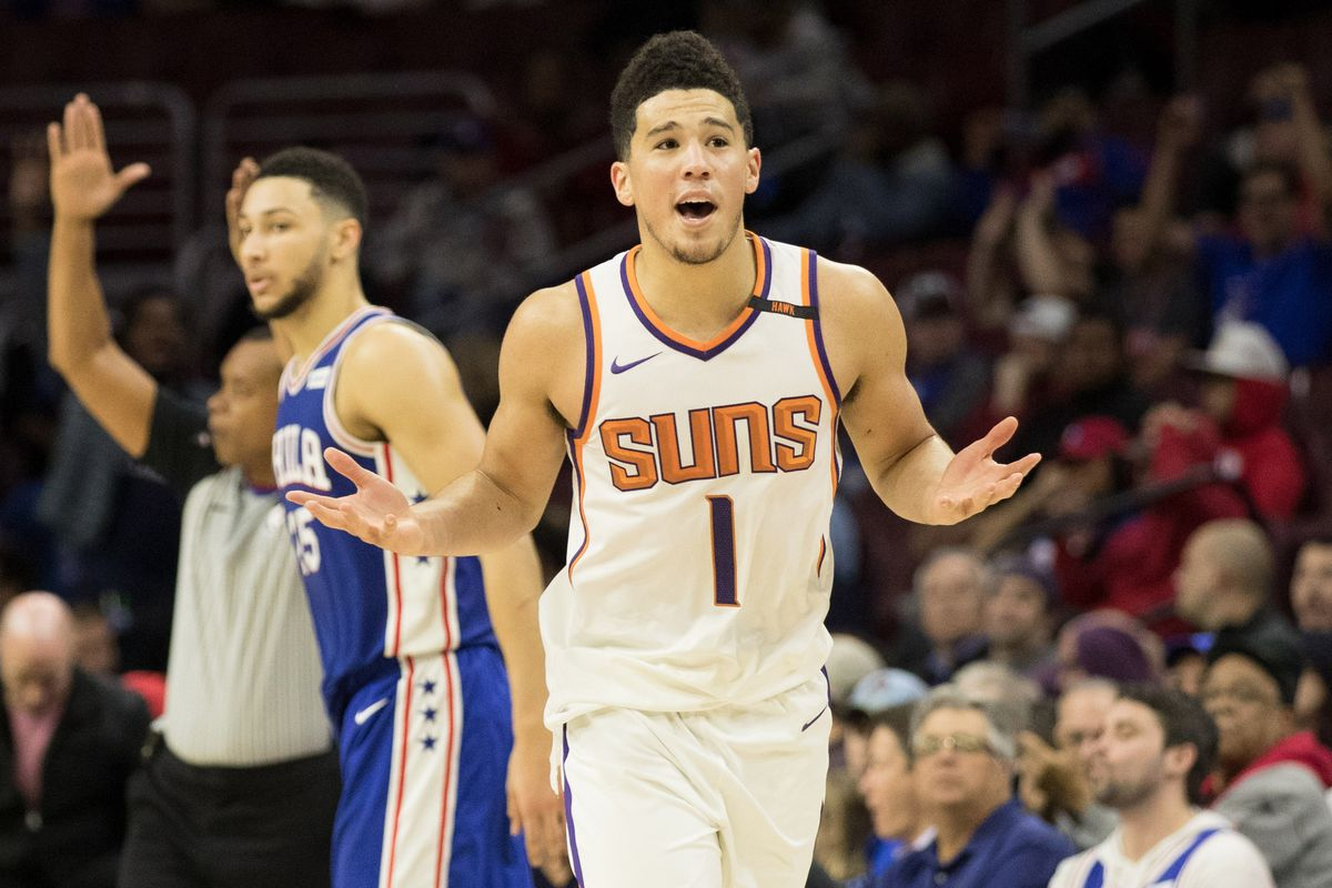 NBA's Devin Booker In Wheelchair with Crutches ... After Groin Injury