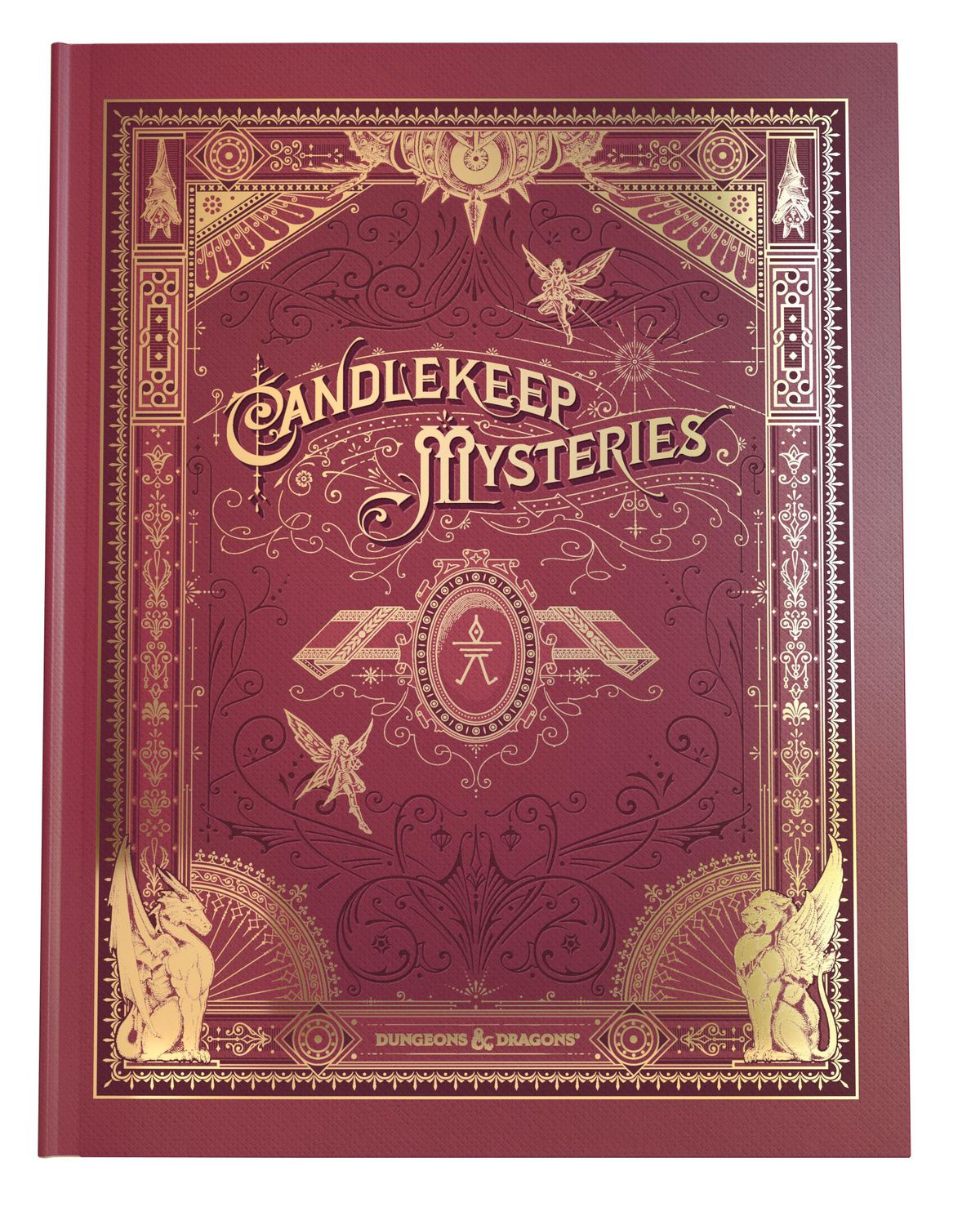 The alternate cover for Candlekeep Mysteries looks like a leather-bound book with gilded accents.