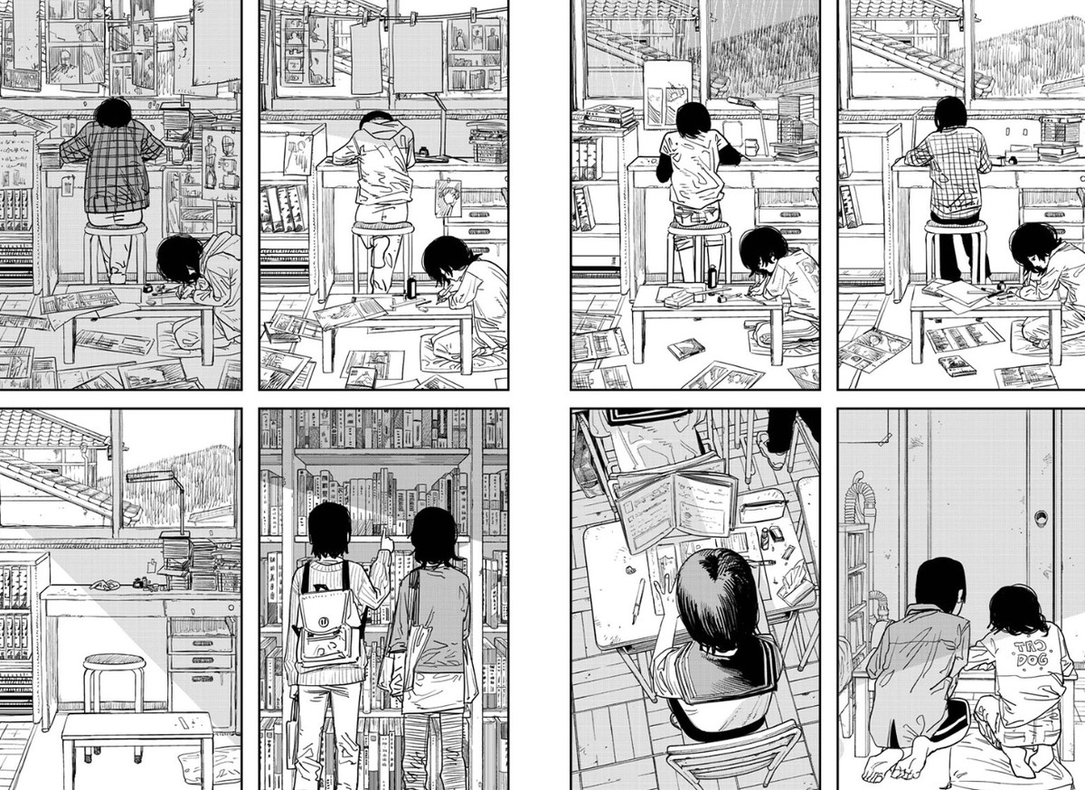 a set of images of two girls working on a manga