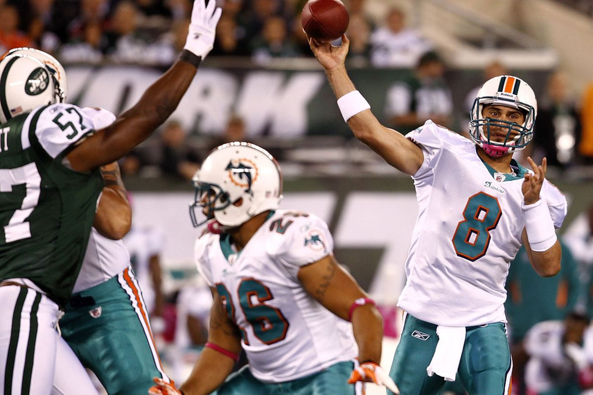 EAST RUTHERFORD, NJ - OCTOBER 17:   Matt Moore #8 of the Miami Dolphins looks to pass during their game against the New York Jets  MetLife Stadium on October 17, 2011 in East Rutherford, New Jersey.  (Photo by Jeff Zelevansky/Getty Images)
