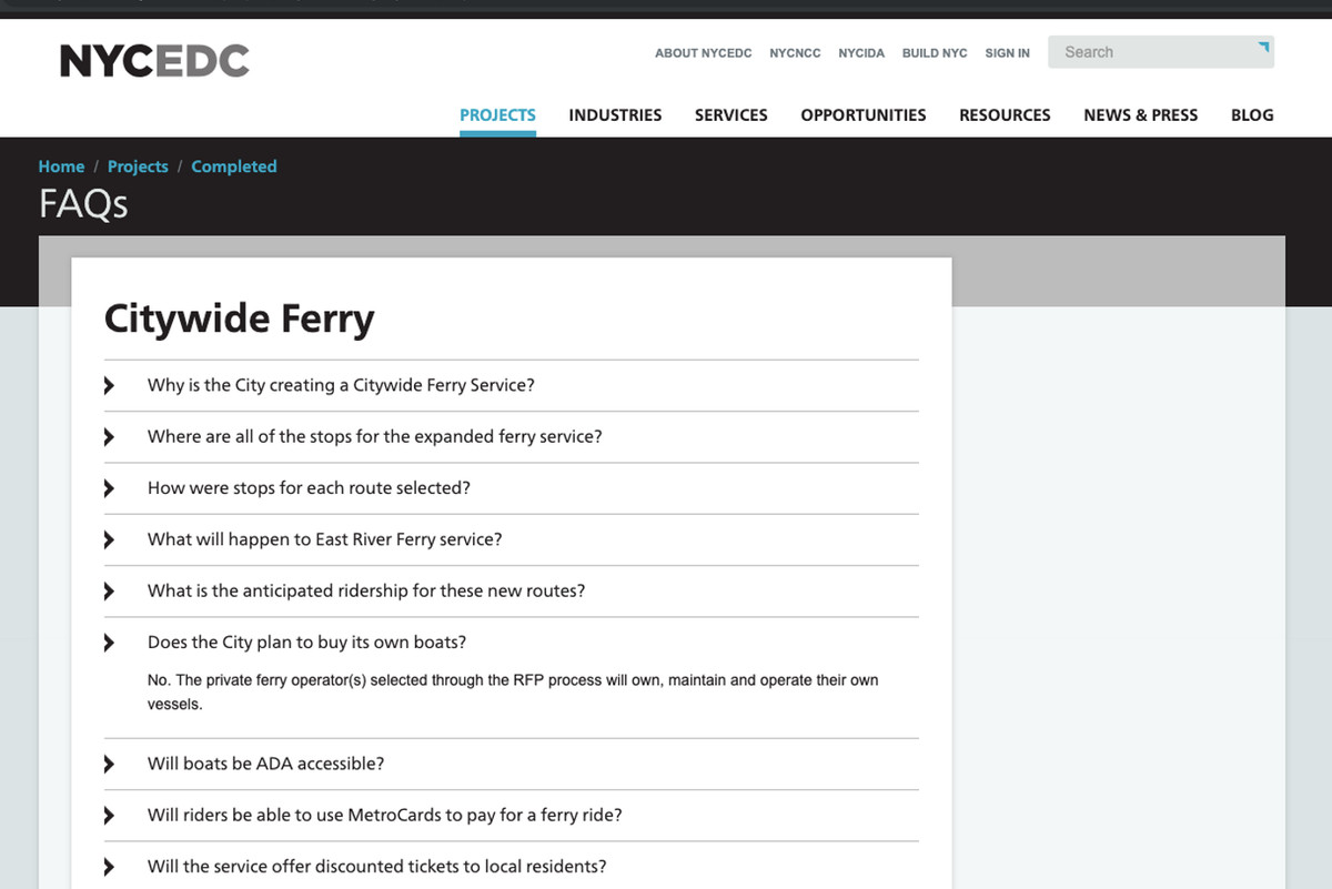 A screenshot of the EDC's website where they said that New York City would not have to buy its own boats. The EDC maintains this FAQ was wrong, although it was still live as of April 2, 2019.