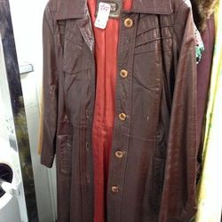 Vintage Leather Trench, $30