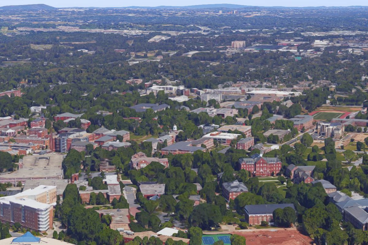 The Atlanta University Center in an aerial, with Westside beyond.