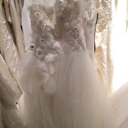 Tulle flower gown, $1,200