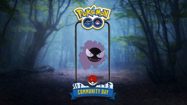A Gastly visible through a phone's AR camera floats around in a dark forest