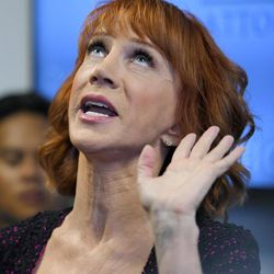 Comedian Kathy Griffin speaks during a news conference, Friday, June 2, 2017, in Los Angeles, to discuss the backlash since Griffin released a photo and video of her displaying a likeness of President Donald Trump's severed head.