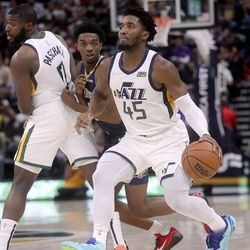 Utah Jazz guard Donovan Mitchell (45) dribbles the ball during a preseason NBA game against the New Orleans Pelicans at the Vivint Smart Home Arena in Salt Lake City on Monday, Oct. 11, 2021.