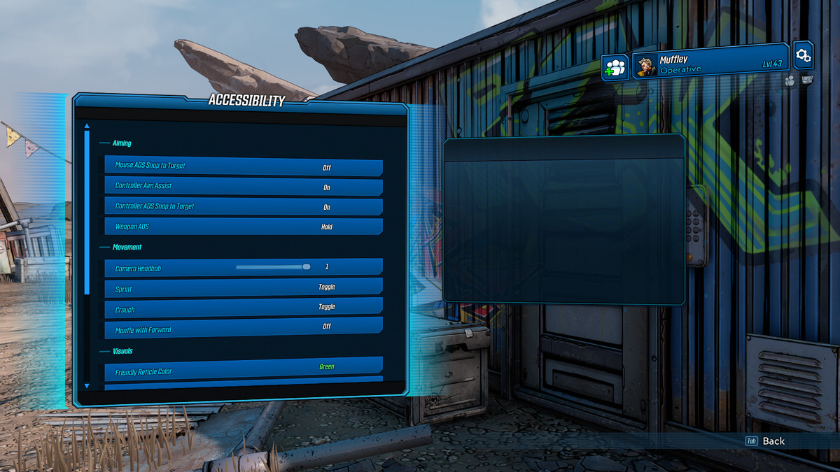 Some of the accessibility options of Borderlands 3