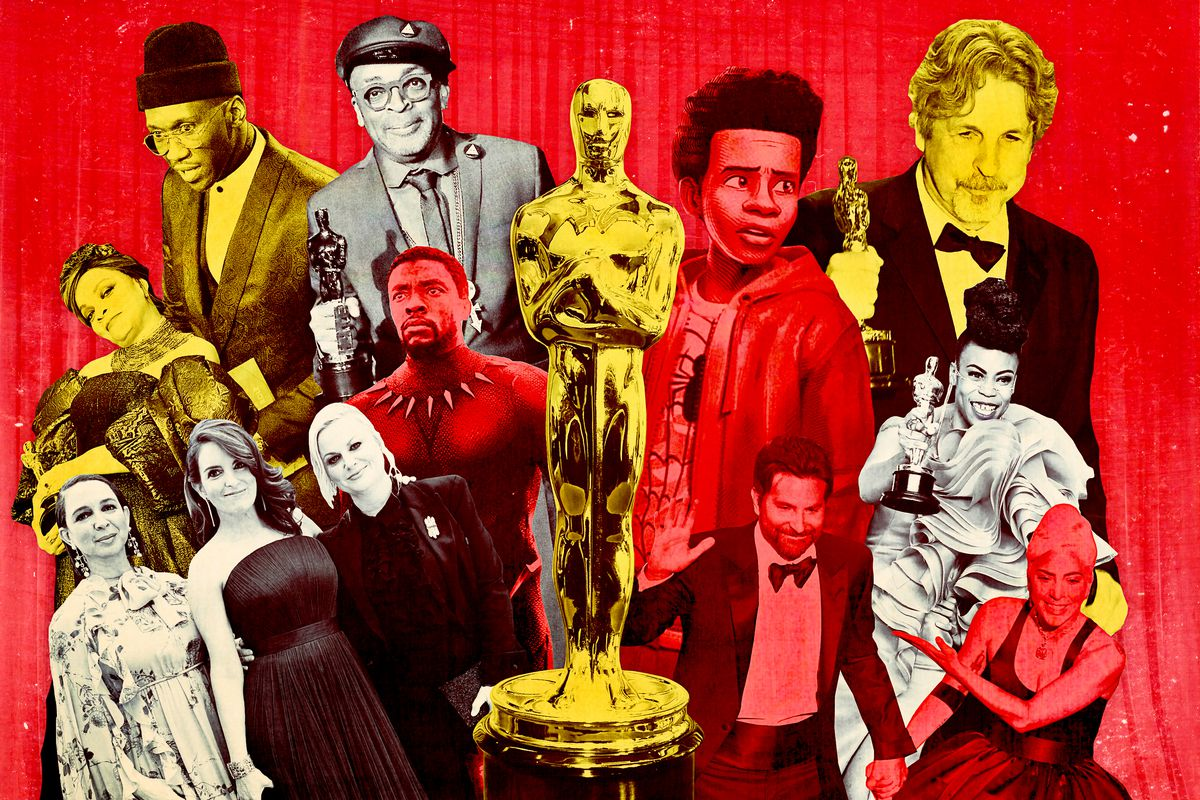 A collage of celebrities at the 2019 Oscars