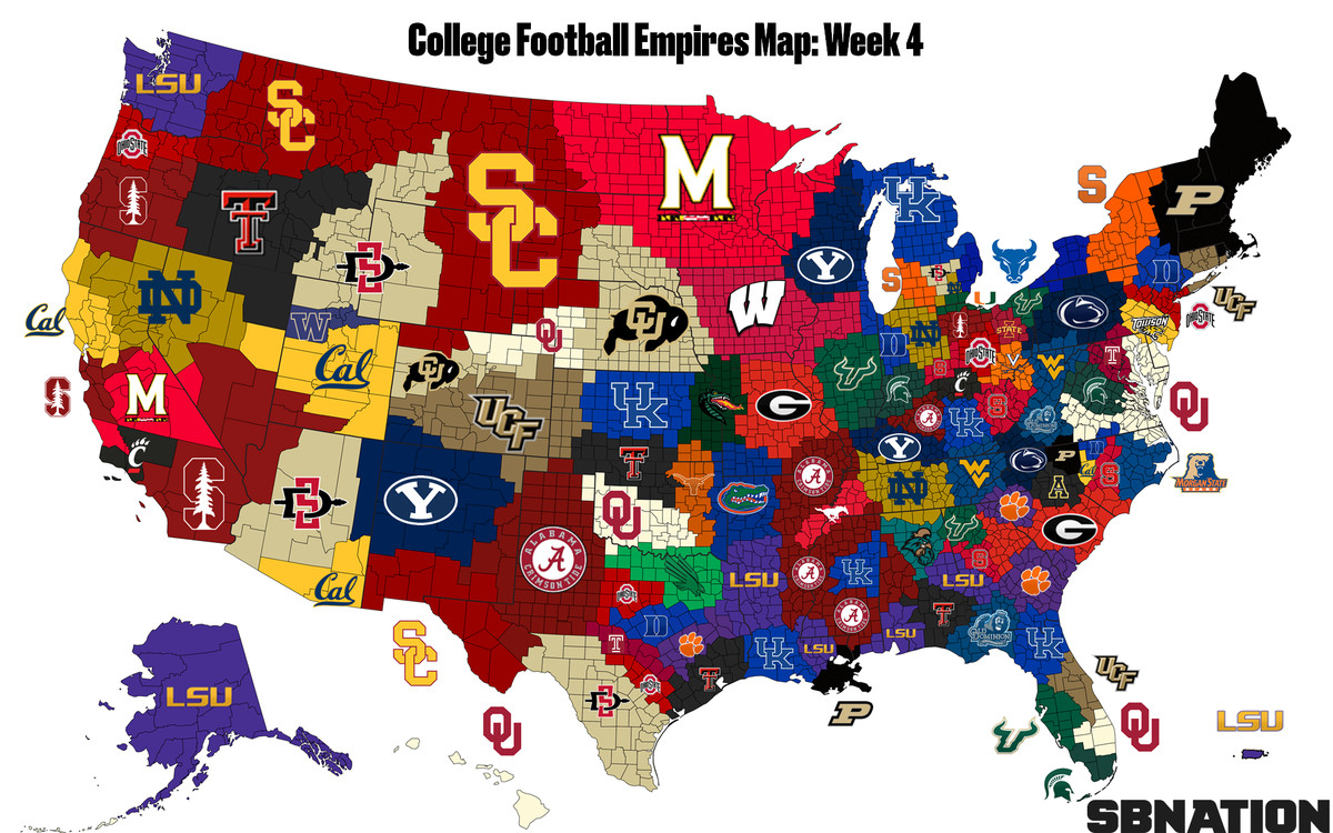 The updated College Football Empires Map after Week 4 – USA News Hub