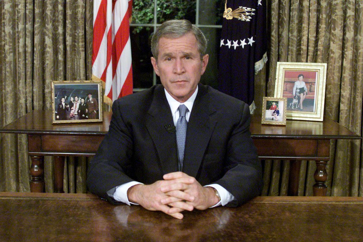 President Bush addresses the nation on 9/11/01.
