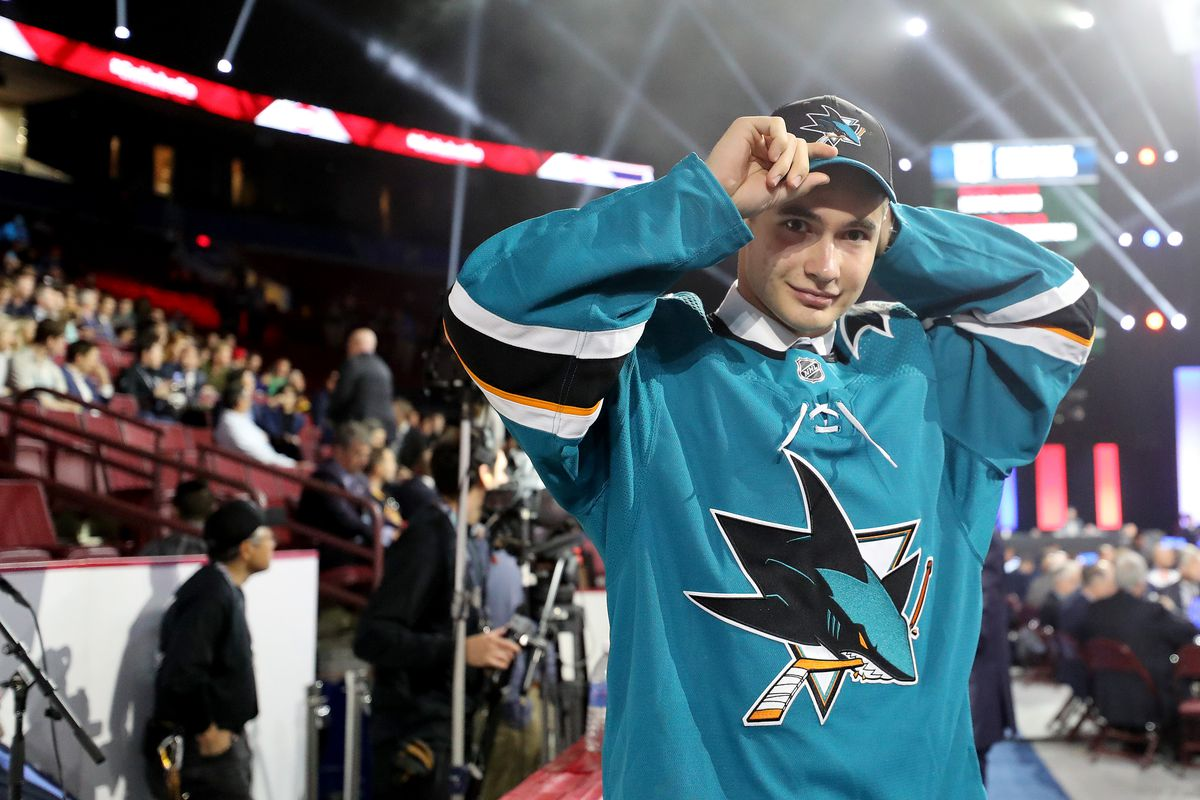 Artemi Kniazev reacts after being selected 48th overall by the San Jose Sharks during the 2019 NHL Draft at Rogers Arena on June 22, 2019 in Vancouver, Canada.