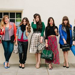 """The stylish ladies of Poshmark. Photos: <a href=""""http://www.ericagarliebphotography.com"""">Erica Garlieb</a>.  (L-R) Emily West, Amanda Weiss, Maria Morales, Lauren Haber, Courtney Chan, Adiel Cloud, and Kate Franco."""