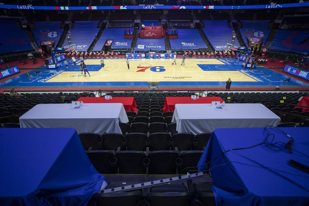 A general view of the Wells Fargo Center prior to the game between the Miami Heat and Philadelphia 76ers on January 14, 2021 in Philadelphia, Pennsylvania.