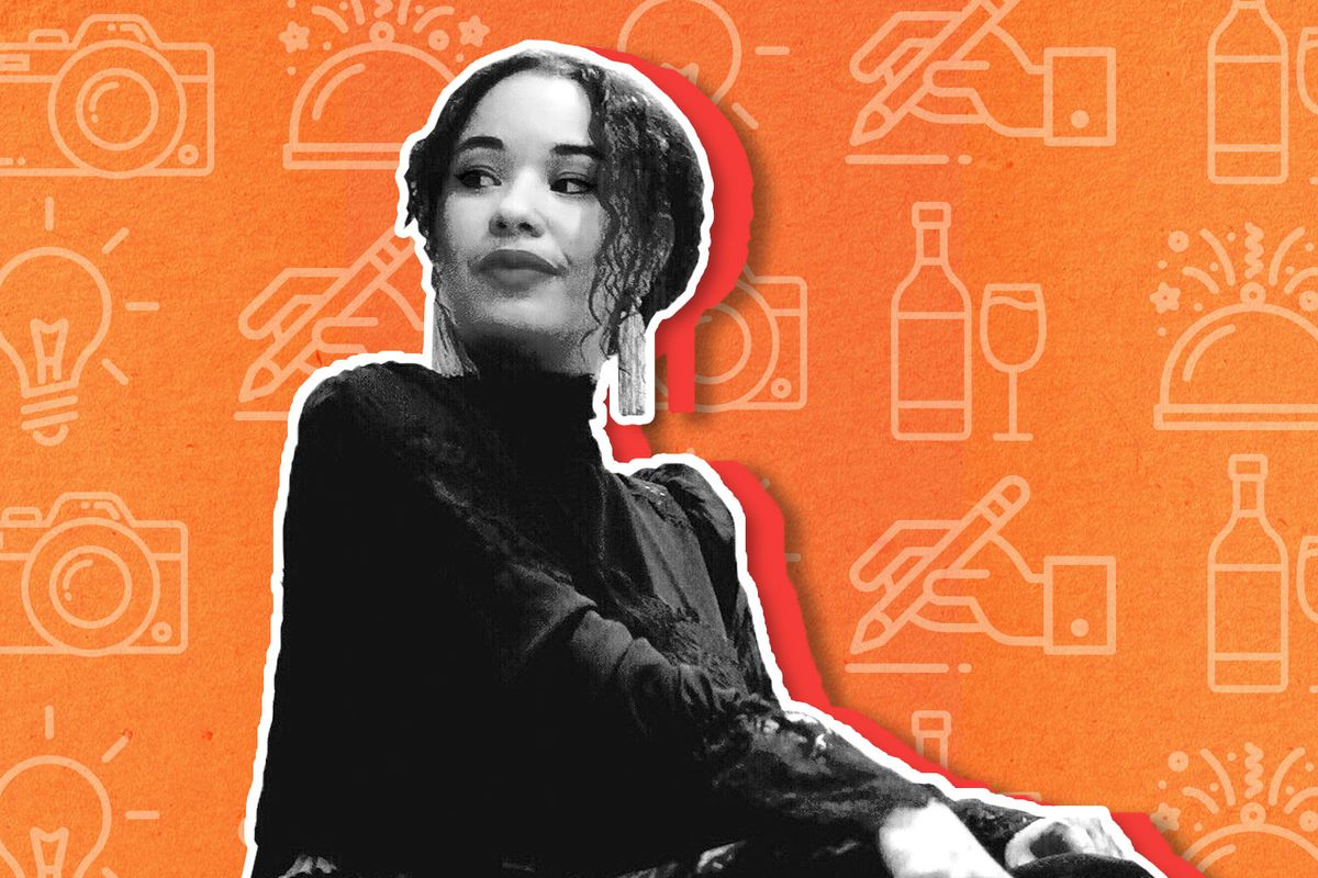 Kate Geen wears her curly haired tied back and glances over her shoulder in a black turtleneck. The photo is a black and white cutout on an orange illustrated background.