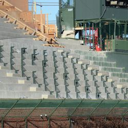 5:11 p.m. Another view of the first left-field bleacher bench footings -