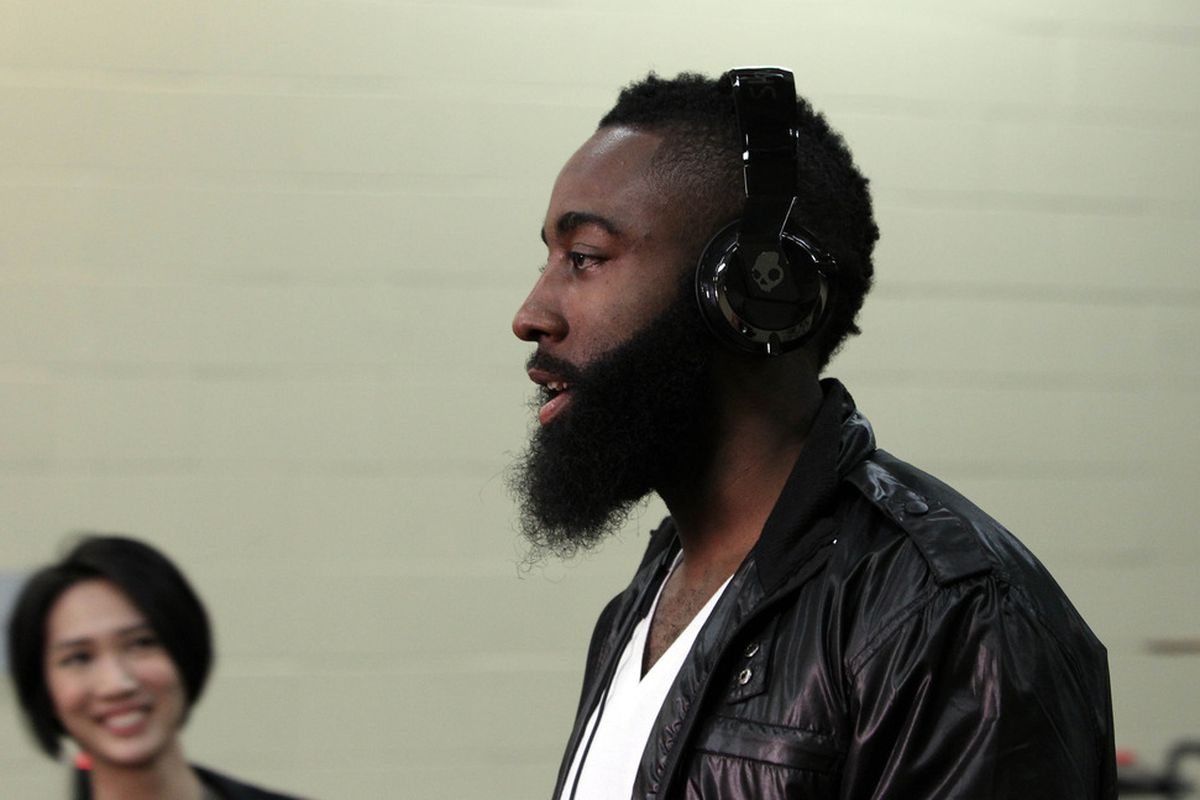 Jun 12, 2012; Oklahoma City, OK, USA;  Oklahoma City Thunder guard James Harden enters the arena prior to facing the Miami Heat in game one in the 2012 NBA Finals at the Chesapeake Energy Arena.  Mandatory Credit: Derick E. Hingle-US PRESSWIRE