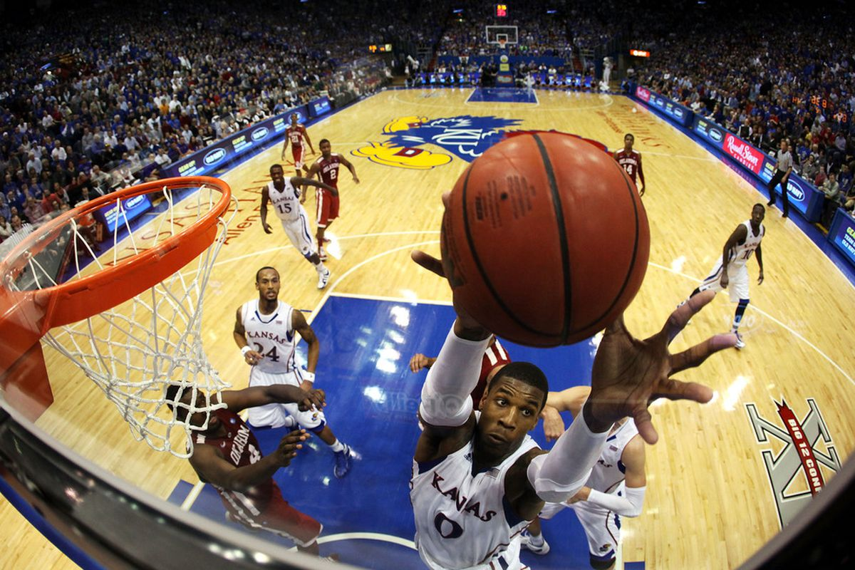 LAWRENCE, KS - FEBRUARY 01:  of the Oklahoma Sooners of the Kansas Jayhawks dring the game on February 1, 2012 at Allen Fieldhouse in Lawrence, Kansas.  (Photo by Jamie Squire/Getty Images)