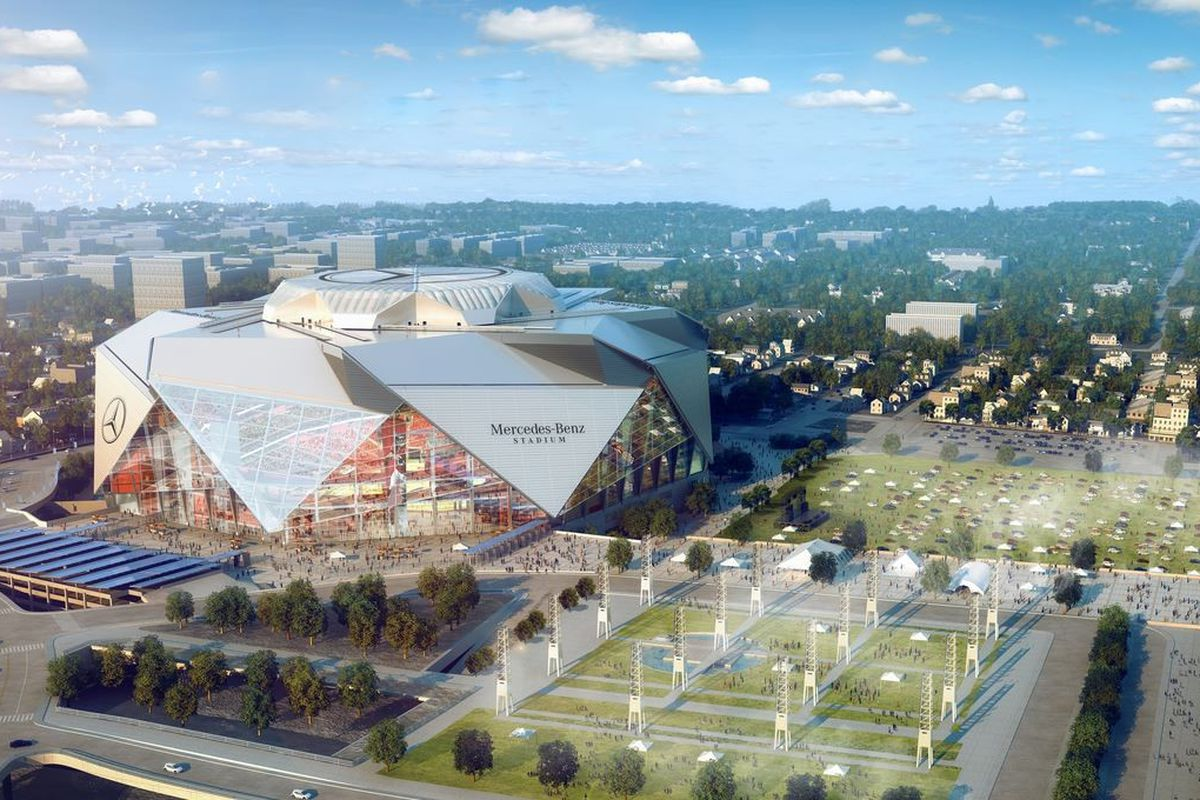 Mercedes benz stadium will not be completed in time for for Mercedes benz stadium atlanta united