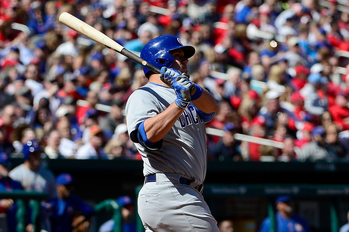 ST LOUIS, MO - APRIL 06: Kyle Schwarber #12 of the Chicago Cubs hits a three run home run against the St. Louis Cardinals during the seventh inning at Busch Stadium on April 6, 2017 in St Louis, Missouri. (Photo by Jeff Curry/Getty Images)