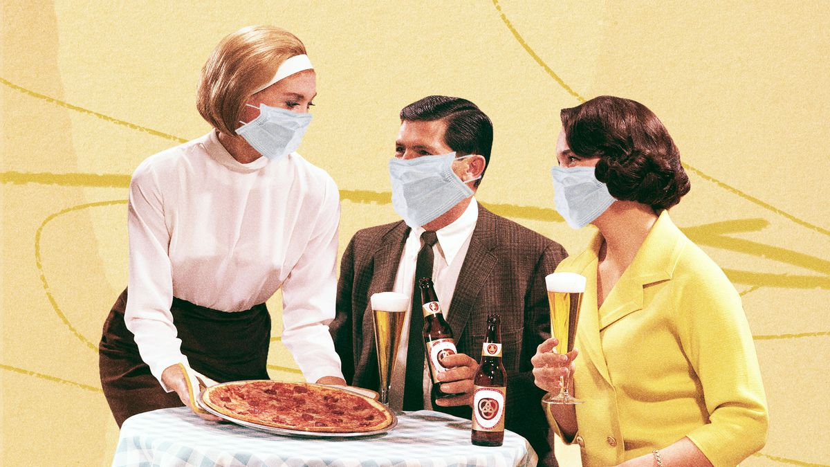 Illustration done in retro style of woman wearing a mask serving a pizza to a seated man and woman, also wearing masks.