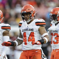 Cleveland Browns linebacker Sione Takitaki (44) plays against the Washington Redskins during the first half of an NFL preseason football game, Thursday, Aug. 8, 2019, in Cleveland.