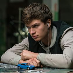 """Baby (Ansel Elgort) tells the team they are doing the heist in """"Baby Driver."""""""